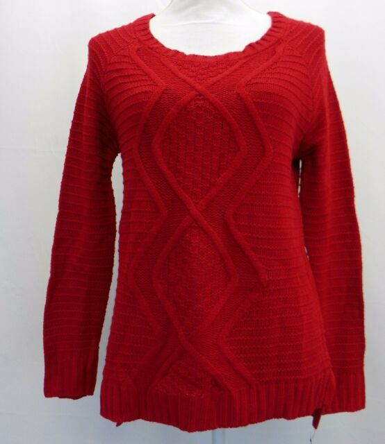 NY Collection 4714 Size Large L Red Cable Knit Pullover Sweater High ... d9bda2983