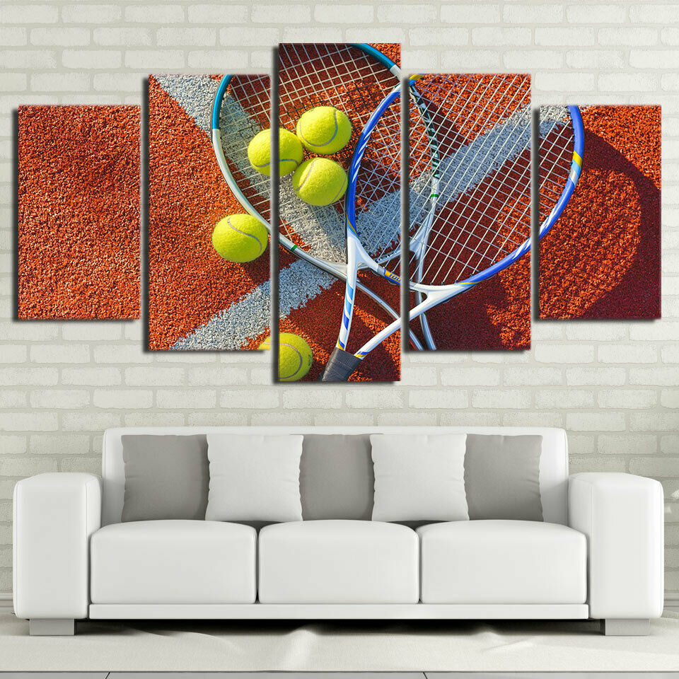 Tennis Racket Balls 5 panel canvas Wall Art Home Decor Print Painting