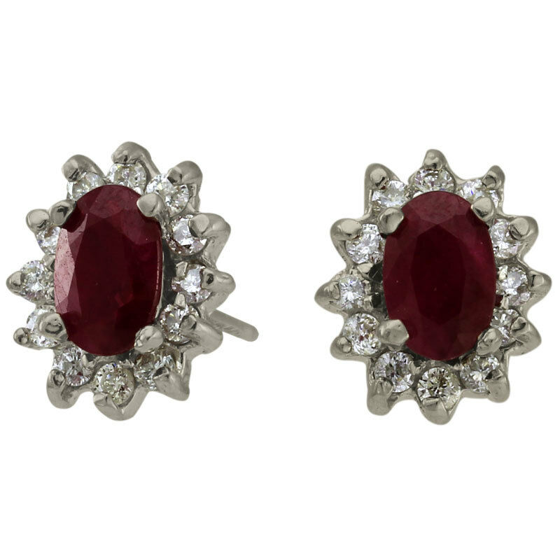 Rare Deep Red Ruby Oval Earrings Surrounded By Bright White Diamonds 1.50ctw 14K