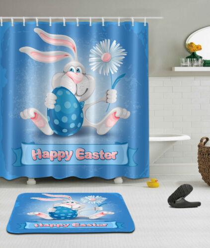 Pâques Lapin Holding œuf Rideau de douche ensemble salle de bain MAT 100/% POLYESTER TISSU