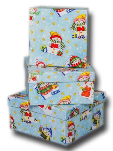 3 verschiedene Design KLS Geschenkboxen 3er Set Quadrat