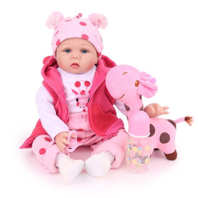 "22/"" Reborn Baby Dolls Lifelike Handmade born Silicone Vinyl Girl Doll Gifts"