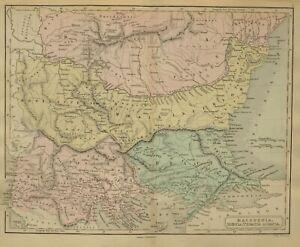1868 Hand- Farbig Alte Landkarte Mazedonien Moesia Thracia Dacia Bistones