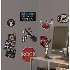 BOYS ROCK n ROLL wall stickers 25 decals Guitar Skull Tattoo scrapbook Music