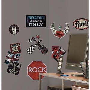8aa7aa916 BOYS ROCK n ROLL wall stickers 25 decals Guitar Skull Tattoo ...
