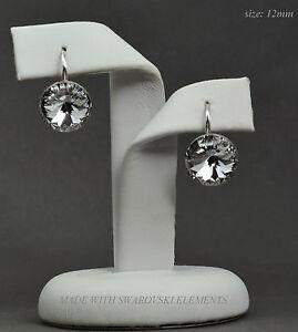 925-Sterling-Silver-Earrings-Crystal-Clear12mm-Rivoli-Crystals-from-Swarovski