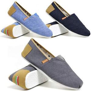 Homme-deux-tons-slip-on-casual-canvas-espadrilles-ete-baskets-escarpins-chaussures-taille