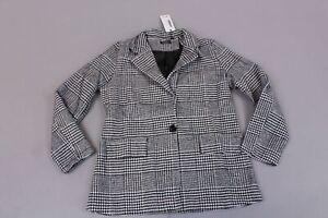 Boohoo-Women-039-s-Check-Wool-Look-Blazer-Coat-SH3-Black-Size-US-6-NWT