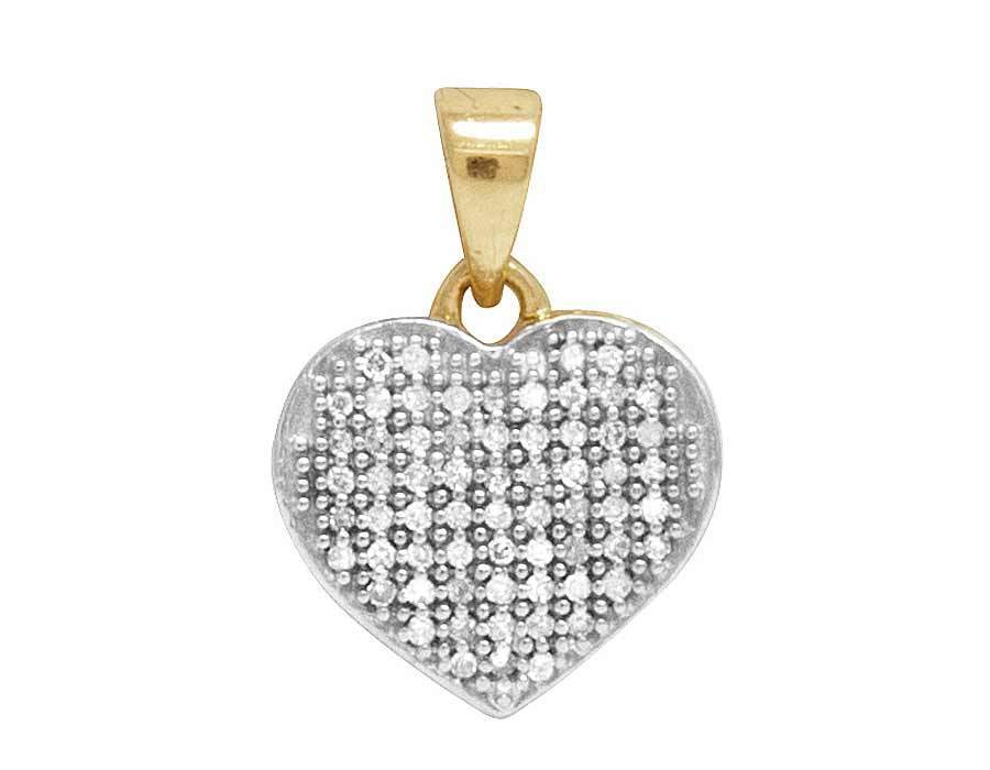 Ladies 10K Yellow gold Pave Heart Pendant 0.12 CT