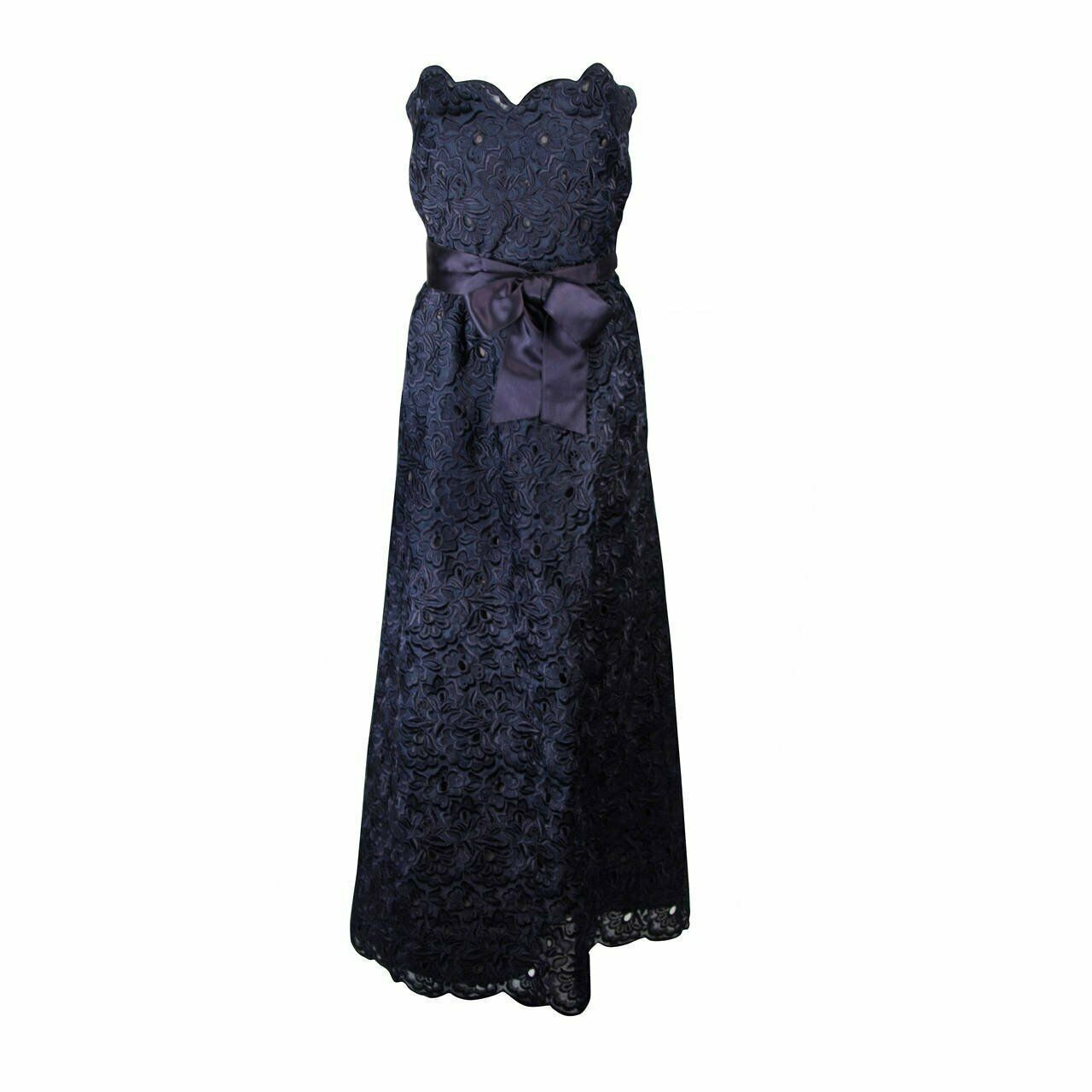 ARNOLD SCAASI Navy Floral Lace Gown Satin Belt Si… - image 1