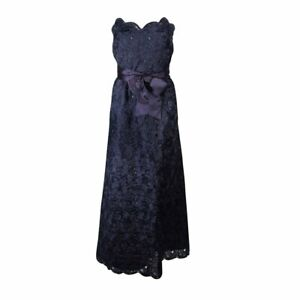 ARNOLD SCAASI Navy Floral Lace Gown Satin Belt Size 2