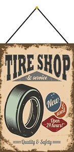 Tire-Shop-amp-Service-Tin-Sign-Shield-with-Cord-Tin-Sign-7-7-8x11-13-16in-FA0328-K