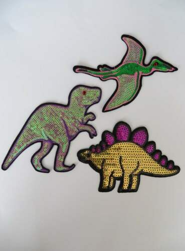 DIPLODOCUS Ptérodactyle Grand Sequin Dinosaure Appliqué Patch Enjoliveurs de Fer sur T Rex