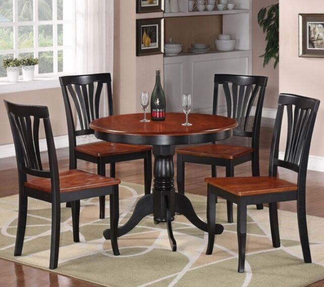5 Pc Black & Cherry Round Dining Room Set Kitchen Chair Table Sets  Furniture NEW