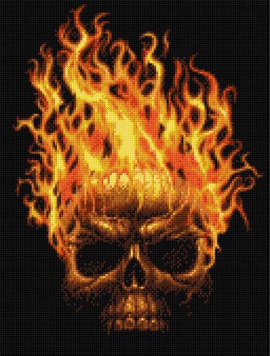 Hot Head Counted Cross Stitch Kit Fantasy Macabre Skulls Goth Art