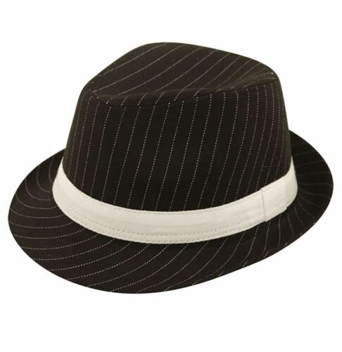Unisex Gangster Black Hat With White Stripe Adults Stag Do Party Wear Accessory