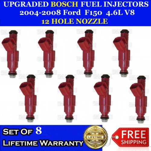 8x Upgrade 12 Hole Nozzle Bosch Fuel Injectors For 2004-2008 Ford F150  4.6L V8