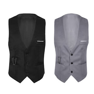 Hommes-Formelle-Casual-Business-Dressy-Chemise-Costume-Gilet-Slim-Gilet-Veste-Tops