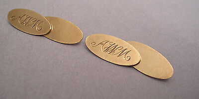 SET OF GREAT VINTAGE FULLY HALLMARKED 9CT GOLD CUFFLINKS WITH INTITALS AWM