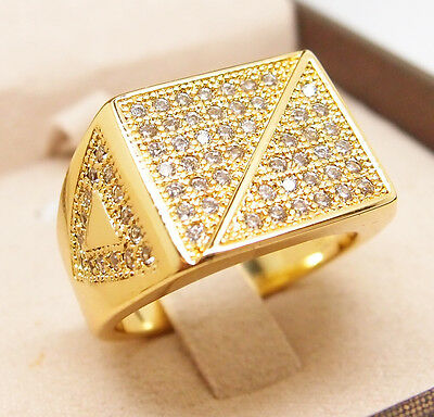 CZ Iced Out Micropave Ring HIP HOP 18K Yellow Gold Filled Glint Ring R49 9#-12#