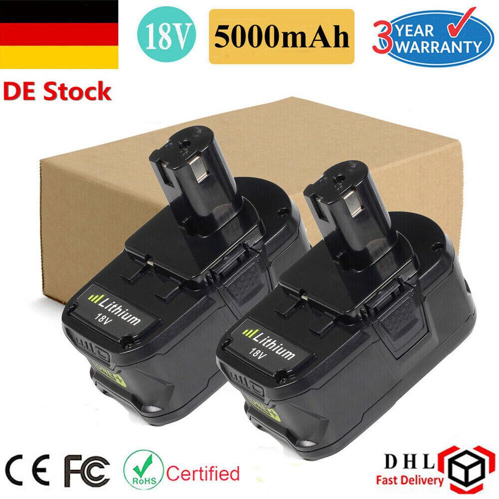 2x 5000mAh 18V Werkzeuge Akku für Ryobi ONE+ RB18L50 CAD-180L CAG-180M CAP-1801M