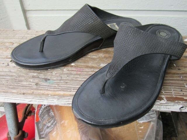 ad17bd8e31e4 FitFlop BANDA PERF Black Leather Thong Flip-Flop Toning Sandal US 9 EU 41  EUC
