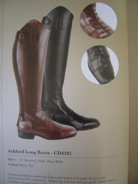 CALDENE Ashford Largo Negro botas De Montar, Reino Unido 5 (38) de ancho, nuevo y en caja de venta