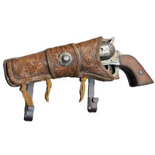COWBOY 6 SHOOTER Iron metal gun PISTOL w western star holster COAT RACK HAT HOOK
