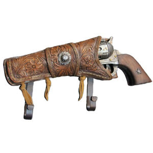 COWBOY 6 SHOOTER Iron metal gun PISTOL w western star holster COAT RACK HAT HOOK
