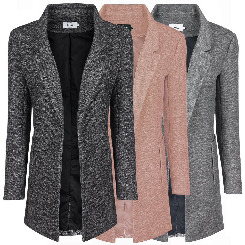 ONLY DaMänner Sweat Lange Blazer mit Revers Kragen Jacke modische Melange Optik