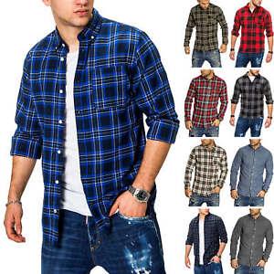 Jack-amp-Jones-Hommes-langarmhemd-Chemise-bleue-a-petits-carreaux-bucheron-Casual-Lumberjack-Shirt