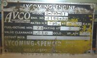 Early Lycoming Aviation Engine Stainless Data Plate 0-290-g1