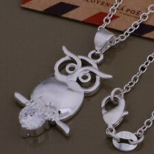 Necklace Cute Owl Crystal Ladies 925 Sterling Silver Beautiful Fashion Pendant