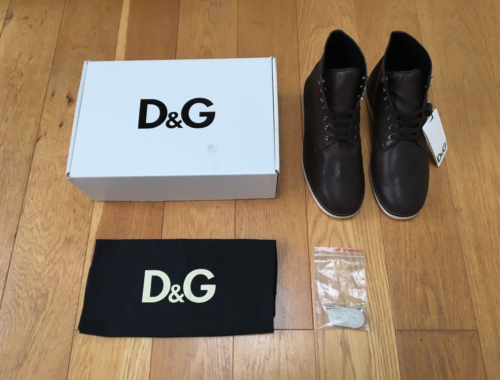 Dolce & Gabbana-d&g - cuero Boots/sneakers, 43 (42), marrón-NUEVO, EMBALAJE ORIGINAL!!!