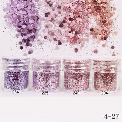 10ml Pink Purple Glitter Powder Hexagon Shape Powder Sheets Tips Nail Art Decor