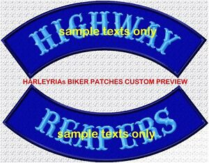 CUSTOM-MADE-TO-ORDER-ROCKERS-300mm-COLOURED-BACKGROUND-BIKER-PATCH