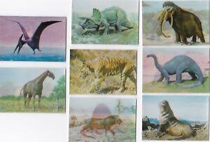 Cigarette-Trade-cards-Dinosaurs-3D-Kellogg-prehistoric-monsters-1985-mint-set