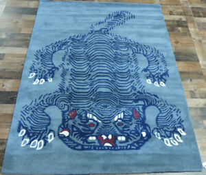 5-039-x7-039-Brand-New-fine-Tiger-design-100-wool-blue-gray-Modern-Oriental-area-rug