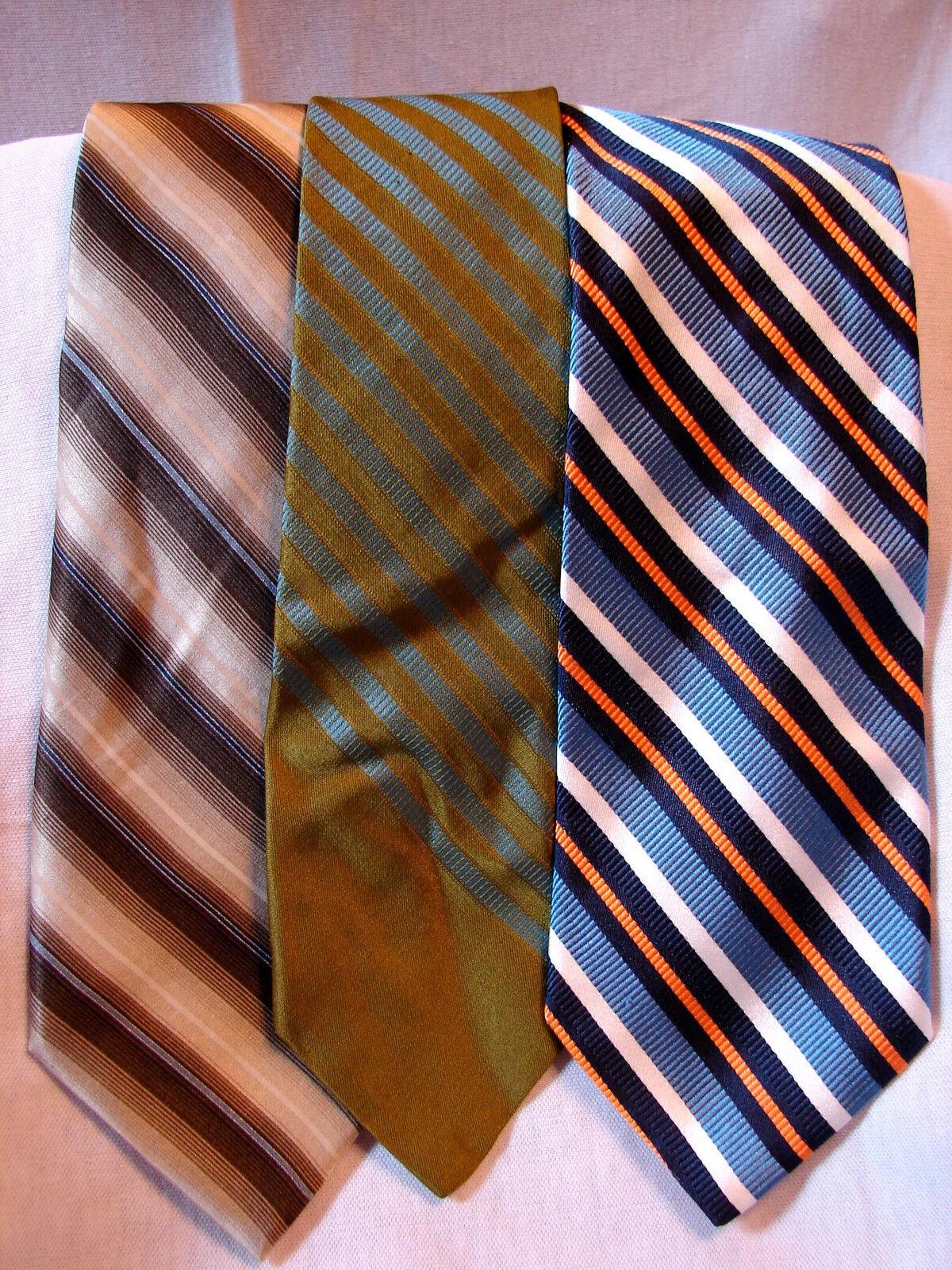 #82 Menge Von 3 Designer 100% Seide Krawatten Alle Schräg Streifen