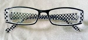 Handmade-Black-amp-White-Check-Reading-Glasses-Readers-3-75-courtly-crystal