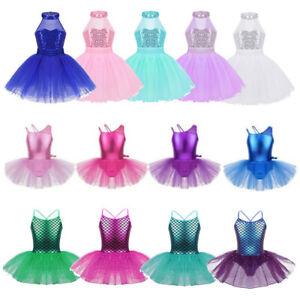 Girls-Ballet-Dance-Leotard-Dress-Kids-Tutu-Skirt-Gymnastics-Sequined-Dancewear