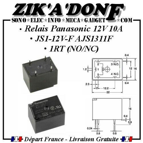 Relais Panasonic 12V 10A JS1-12V-F AJS1311F 1RT NO//NC