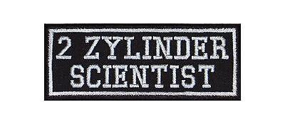 2 Zylinder Scientist Biker Patches Aufnäher Motorrad Mc Rocker Zyl V2 Mechaniker