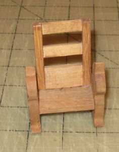 Vintage-3-034-Tall-Doll-House-Wooden-BENCH-with-Cat-Art-Sides-Handmade-Possibly