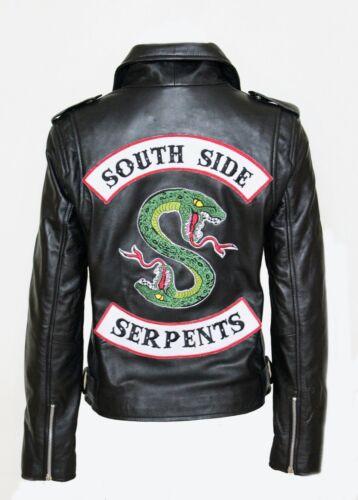 Nuovo Donna Nero Pelle Giacca Riverdale Serpente Southside Serpenti Costume