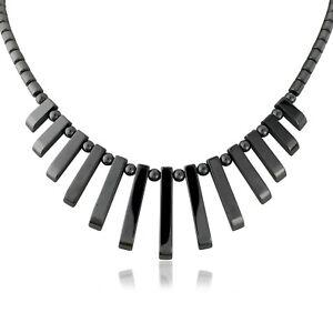 Black Gun Metal Choker Necklace Spike Art Deco Style Costume Jewellery Uk Item Ebay