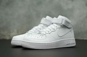 Details about Nike Air Force 1 07 Mid Mens White Silver Leather Shoe Trainer Sneaker UK 7 13