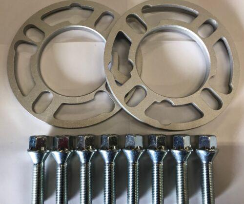 M12X1.25 Argento BULLONI FIAT PANDA 4X98 2 x 8mm Lega Ruota Distanziatori spessori