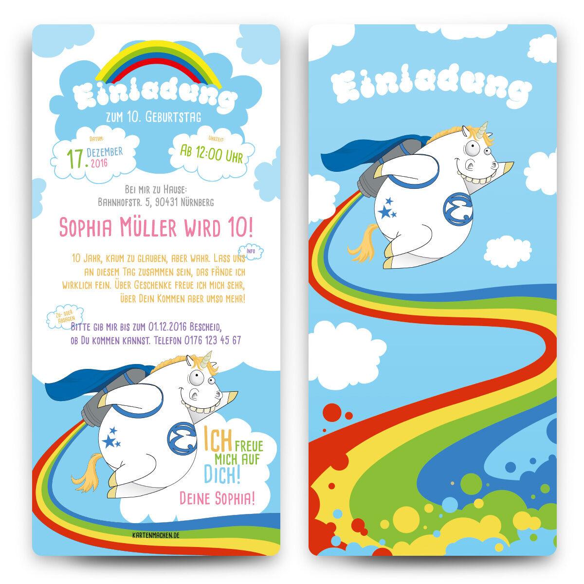 Einladungskarten Kinder Geburtstag - Raketen Einhorn - Einladung bunte Karten  | Kompletter Spezifikationsbereich  | Vielfalt