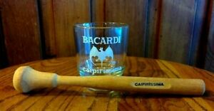 Lot-BACARDI-RUM-Specialty-Cocktail-Making-CAIPIRISSIMA-Glass-amp-Wooden-Muddler